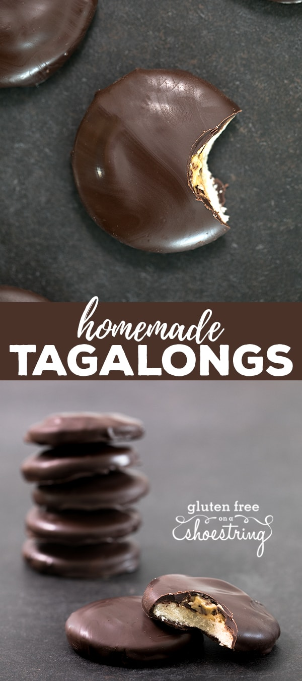 A stack of tagalong cookies and one with a bite