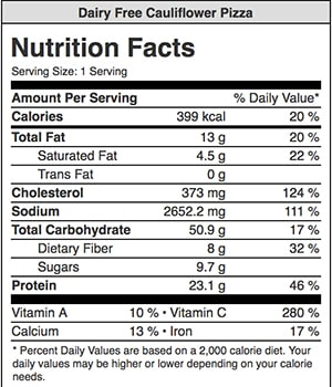 nutrition information for low carb pizza