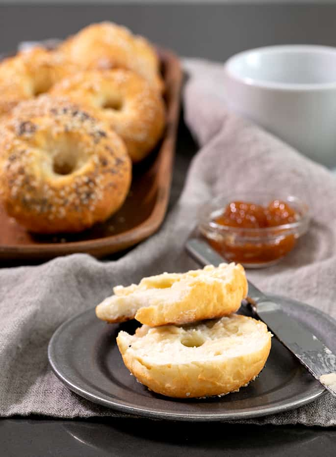 These simple Weight Watchers gluten free bagels are made with just 5 simple ingredients and have only 3 SmartPoints each. Even if you're not on (or even interested in) WW, you're going to love how easy this dough is—and how it tastes!