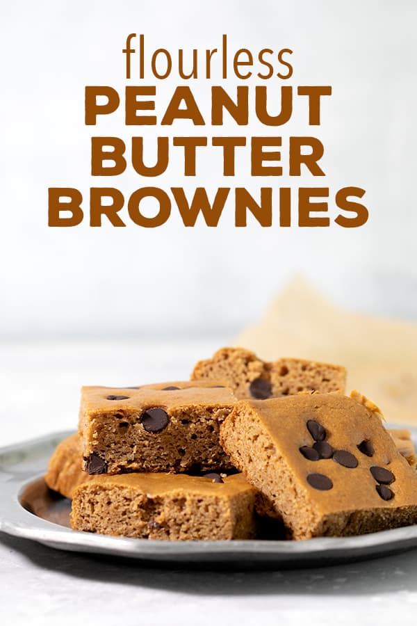 These flourless peanut butter brownies are made with white beans and peanut butter, and just like black bean brownies, they don't taste at all like beans. Really! They don't even have any added oil or butter. #flourless #brownies #glutenfree #dairyfree #gf #df
