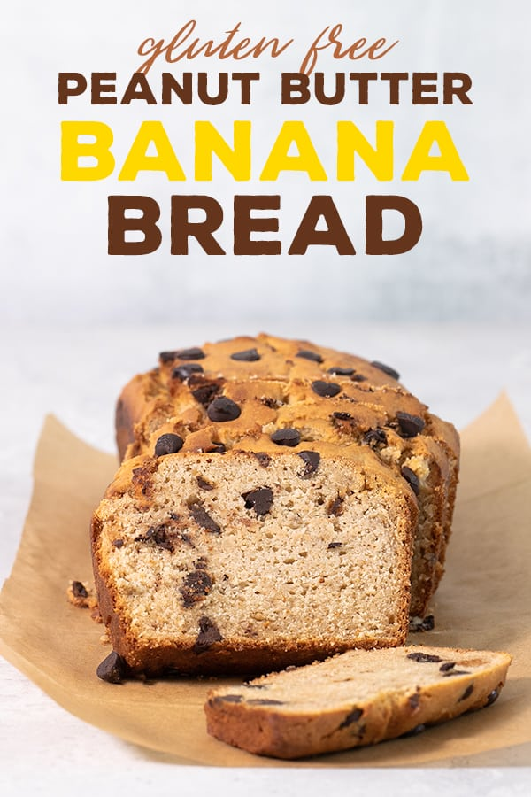 This easy recipe for peanut butter gluten free banana bread is moist,tender, and packed with banana and peanut butter flavor. Don't forget the chocolate chips! #glutenfree #gf #bananabread