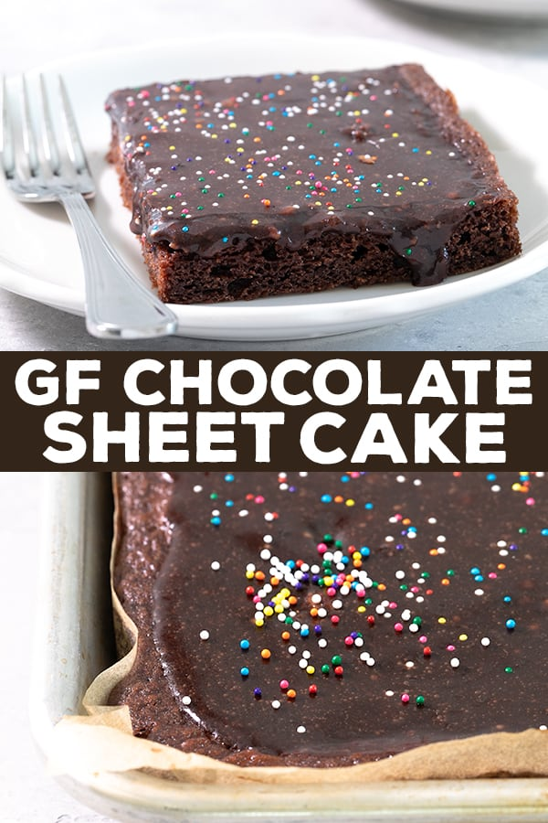 This rich, fudgy gluten free chocolate sheet cake is a simple one-bowl chocolate cake recipe with an easy, poured icing. It's just the best ever cake for a potluck or birthday. #glutenfree #gf #sheetcake #texas #chocolatecake #birthdaycake