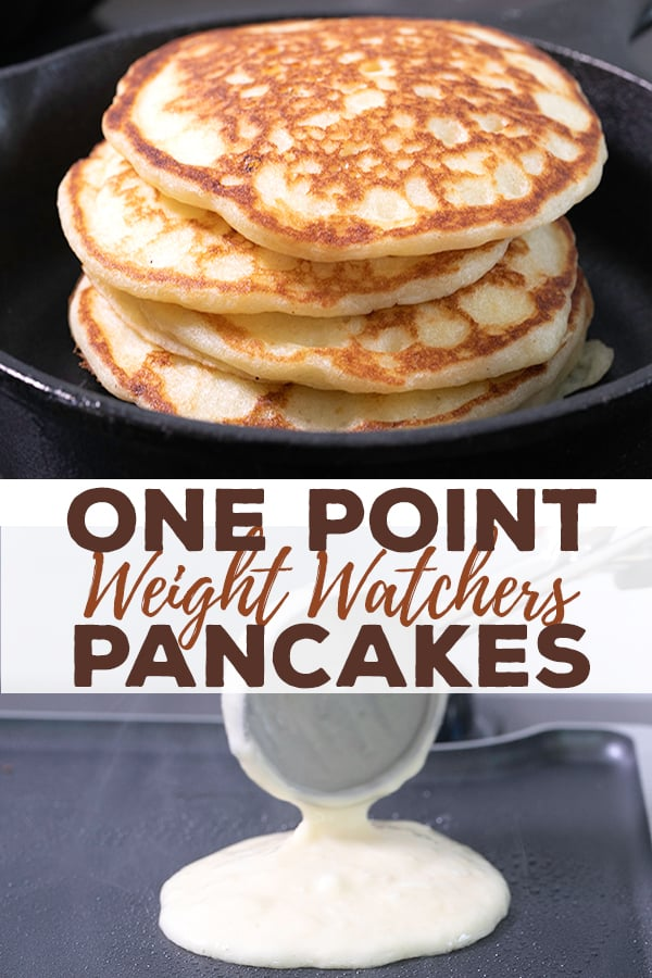 This healthy pancake recipe is going to become a family favorite, whether you're on Weight Watchers or not. Each fluffy pancake has just one SmartPoint—and no banana! #ww #glutenfree #onepoint #gf #breakfast #pancakes