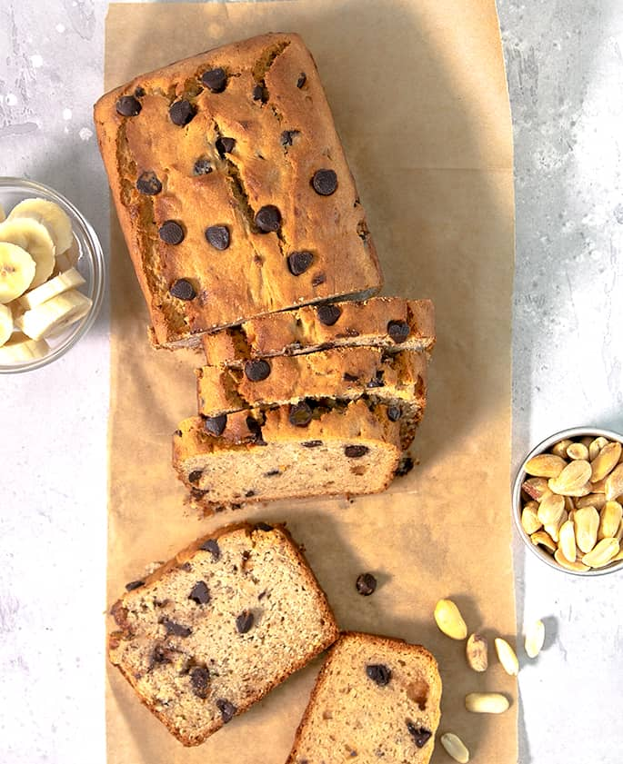 This easy recipe for peanut butter gluten free banana bread is moist,tender, and packed with banana and peanut butter flavor. Don't forget the chocolate chips!