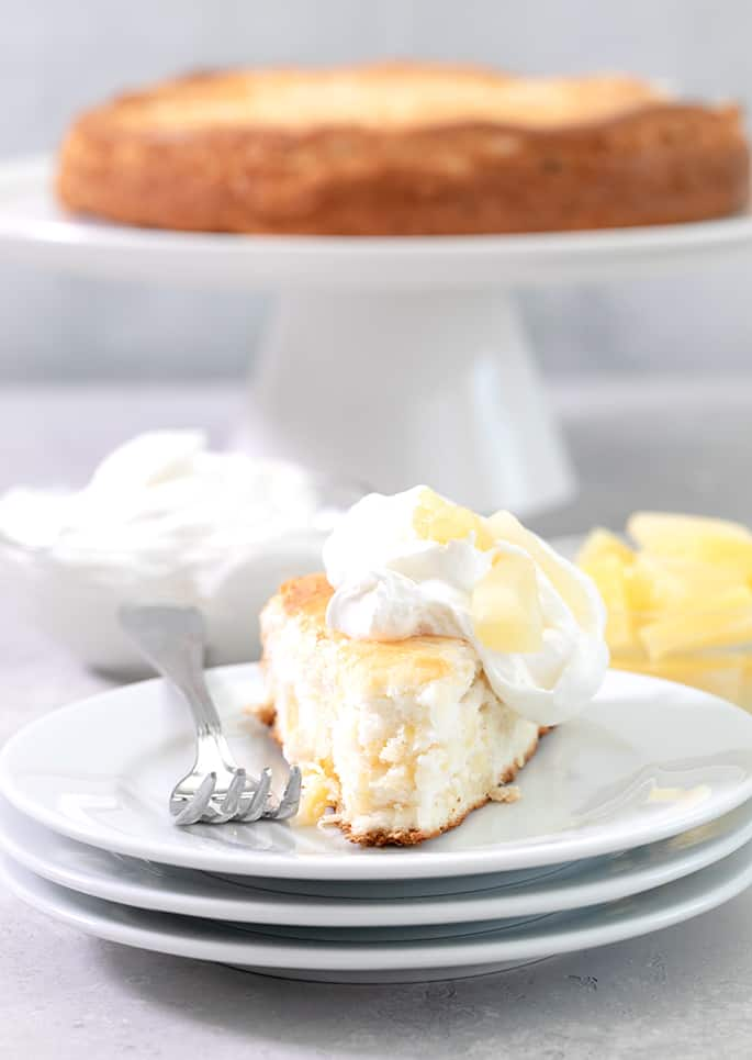 This heavenly pineapple gluten free angel food cake is made from scratch, but it's still so easy. And it only has 4 Weight Watchers SmartPoints per generous slice!