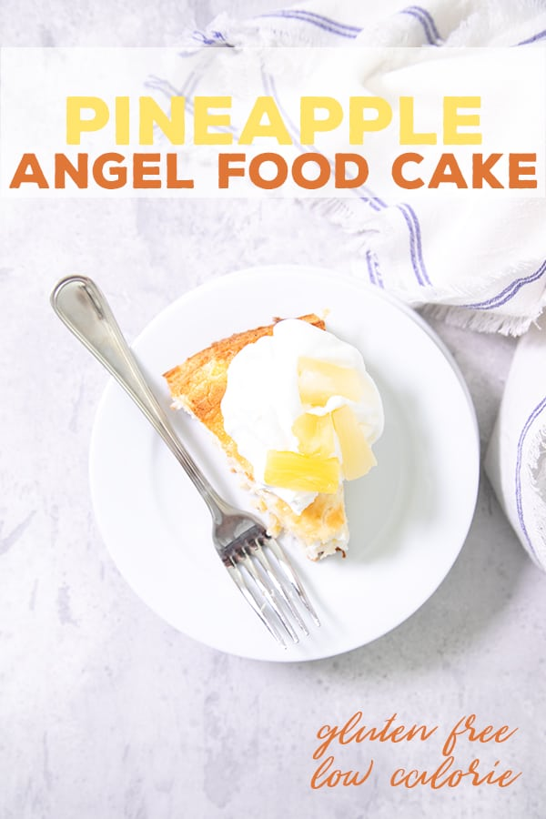 This heavenly pineapple gluten free angel food cake is made from scratch, but it's still so easy. And it only has 4 Weight Watchers SmartPoints per generous slice! #angelfoodcake #mothersday #ww #glutenfree #gf #dairyfree