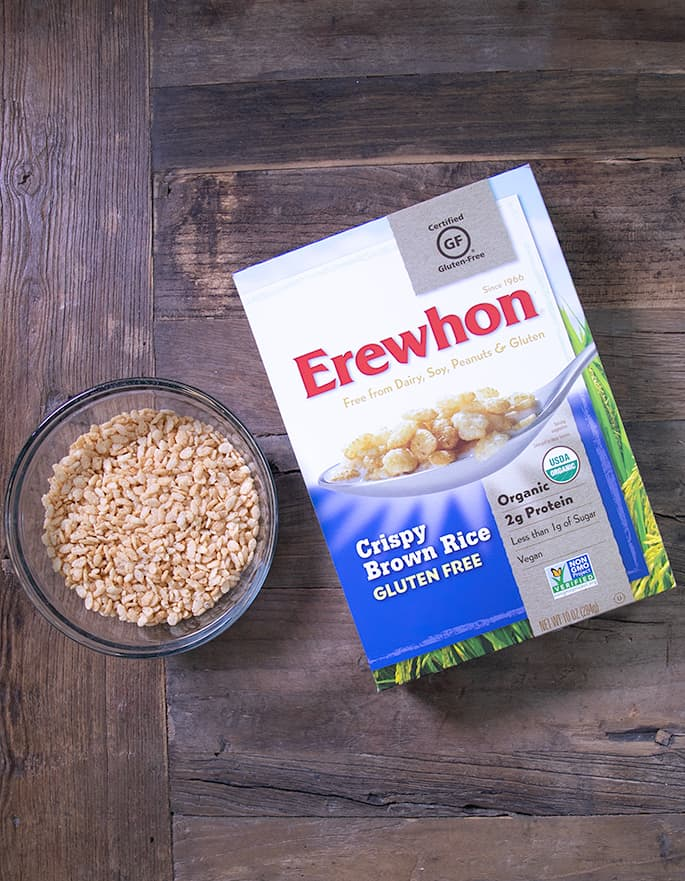 Rice Krispies are not gluten free, but I've got 5 brands of crisp rice cereal that are gluten free, like Erewhon Crispy Brown Rice cereal.