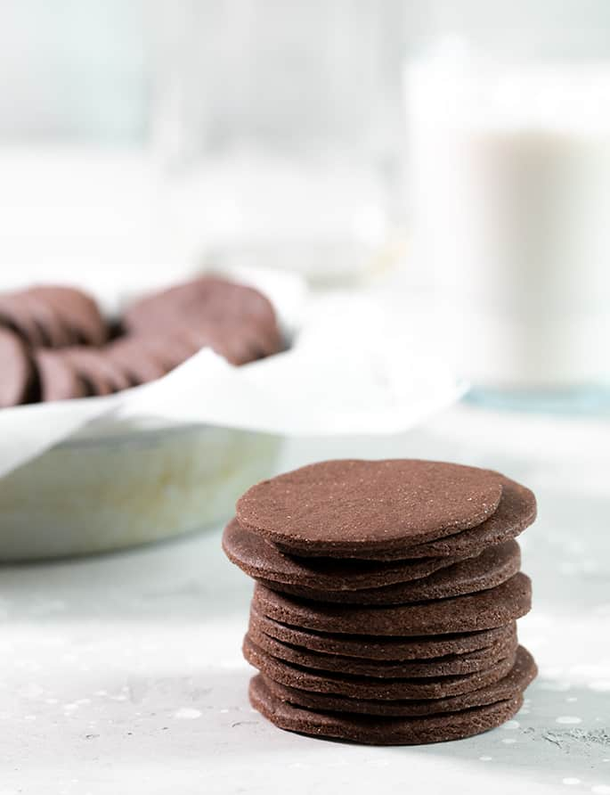 A stack of chocolate wafer cookies