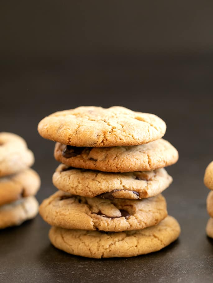 Mrs. Fields Chocolate Chip cookies in a stack