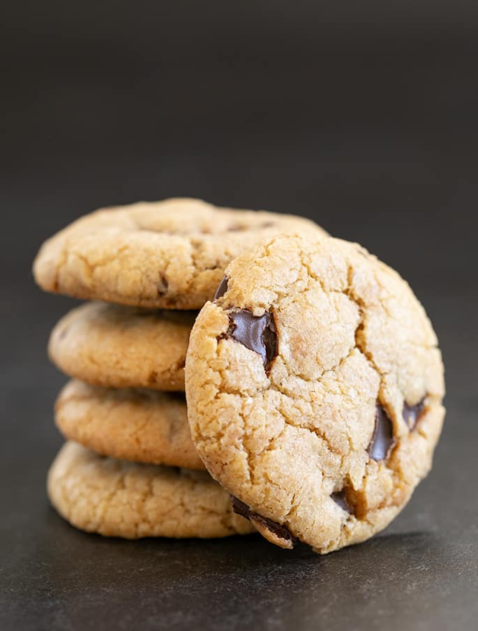 Small stack of Mrs. Fields cookies with one facing forward