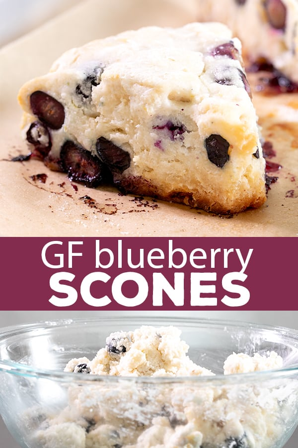 These gluten free blueberry scones are tender and flaky inside, with a lightly crisp top. They can easily be made vegan, too. #glutenfree #gf #blueberryscones #pastry #bakerystyle