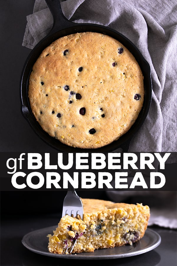 This recipe for gluten free blueberry cornbread is a lightly sweet, naturally dairy-free take on a classic cornbread recipe. It's perfect for potlucks and barbecues, or even for breakfast! #cornbread #glutenfree #gf #dairyfree #blueberry #baking