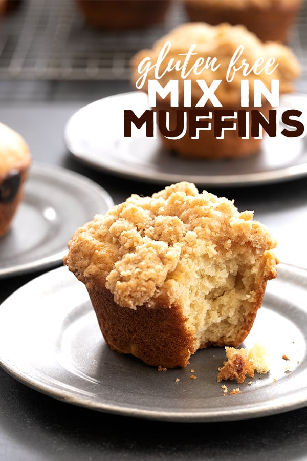 This easy gluten free muffins recipe is perfect for adding mix-ins like chocolate chips or topping with a simple crumble. #glutenfree #gf #muffins #gfbakery