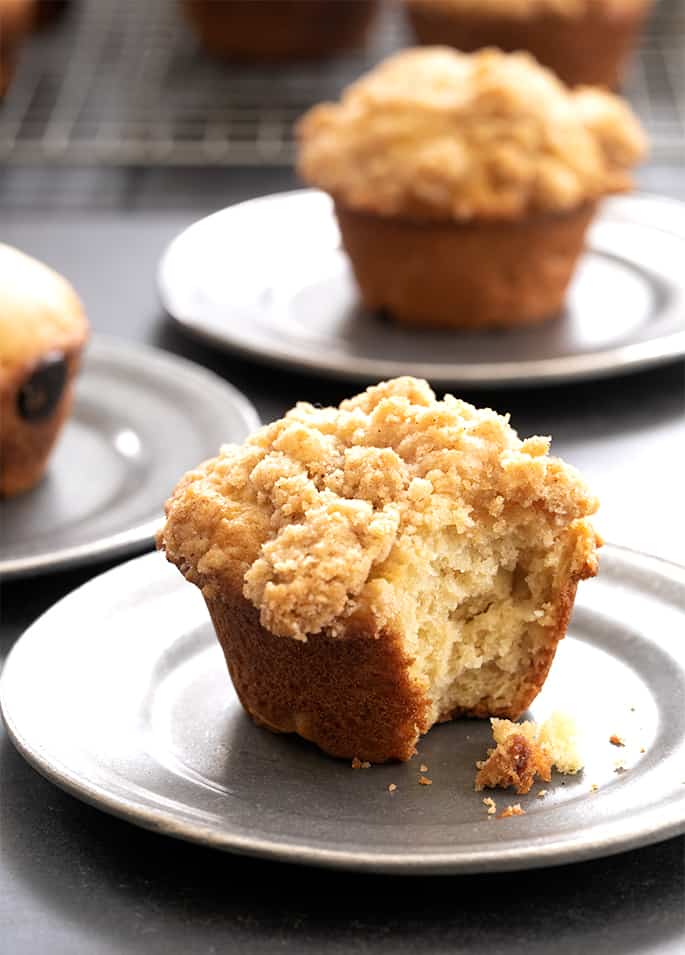 This easy gluten free muffins recipe is perfect for adding mix-ins like chocolate chips or topping with a simple crumble. Moist and tender inside, slightly crisp outside!