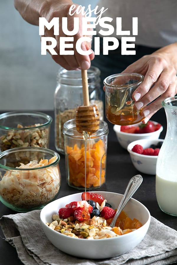 This easy homemade muesli recipe is made with just a few basic pantry ingredients, and you can use it to make porridge or enjoy it as a breakfast topping. #muesli #granola #glutenfree #gf #breakfast #healthy