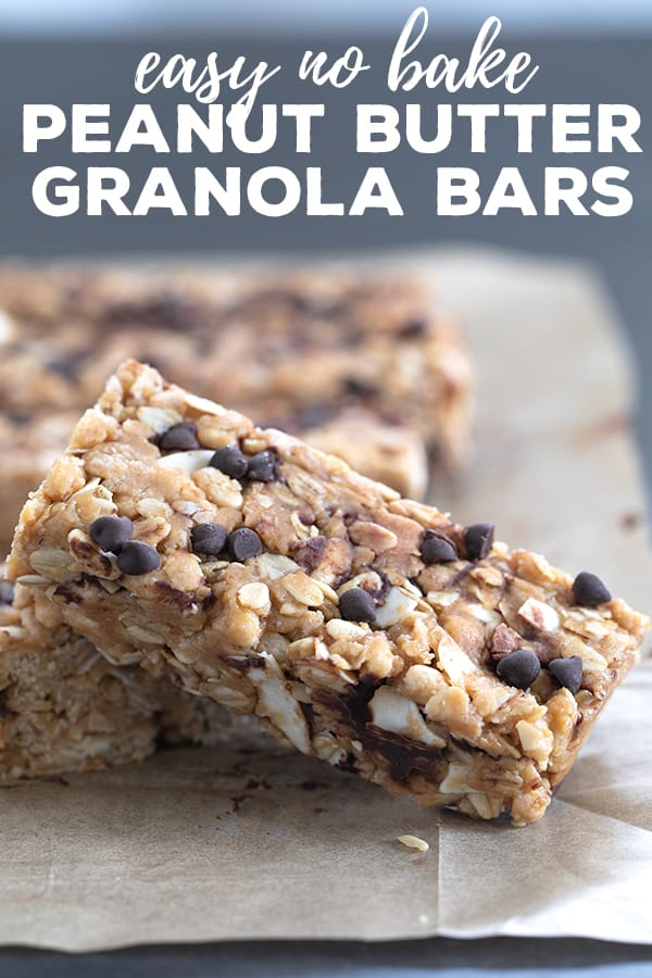 These homemade peanut butter granola bars are chewy bars made with oats and honey. Skip the boxed bars and grab these healthy, no bake treats instead. #peanutbutter #pb #granolabars #glutenfree #gf