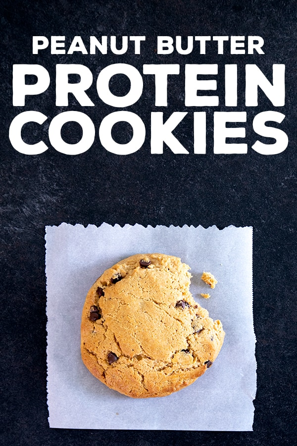 These easy chocolate chip peanut butter protein cookies are made in one bowl, with high-quality whey protein, smooth peanut butter, and just a touch of honey.#protein #glutenfree #gf #highprotein #lowcarb