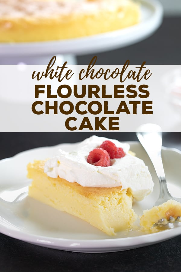 This white flourless chocolate cake is the perfect blond version of the most decadent, easiest dessert you can imagine. And it's even naturally gluten free! #flourless #chocolate #glutenfree #gf #cake