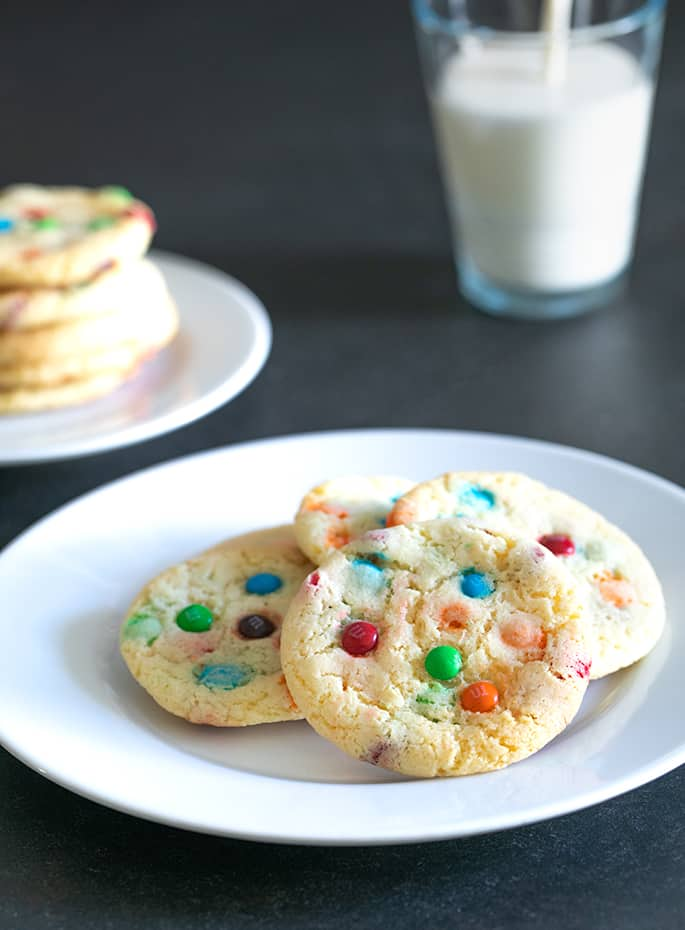 These amazingly chewy vanilla gluten free cake mix cookies are made with just 4 ingredients. And they're not even cake-like at all!