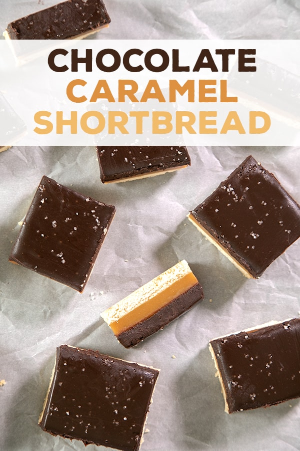 Take simple shortbread to a new level with a simple microwave caramel layer and a chocolate ganache top. These chocolate caramel squares are a showstopper! #glutenfree #gf #shortbread #millionaire #caramel