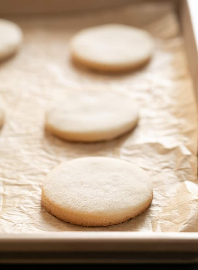Meltaway cutout cookies baked on tray