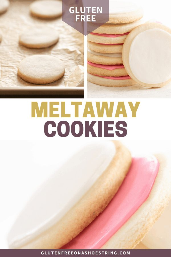 Meltaway cutout cookies baked on tray, in a stack, and in a pile on a plate