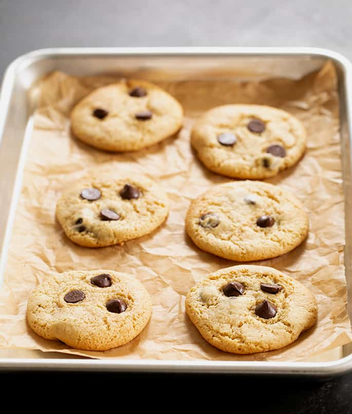 Turn a simple GF vanilla cake mix into perfectly chewy gluten free chocolate chip cookies with butter, eggs, and a touch of molasses—plus of course your favorite chocolate chips!