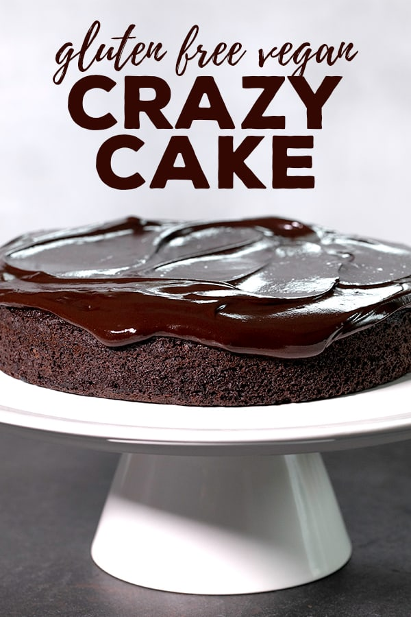 This crazy cake is a gluten free chocolate cake made with no eggs, no butter and no chopped chocolate—but it's still super moist and tender. #glutenfree #gf #vegan #dairyfree #chocolate #cake