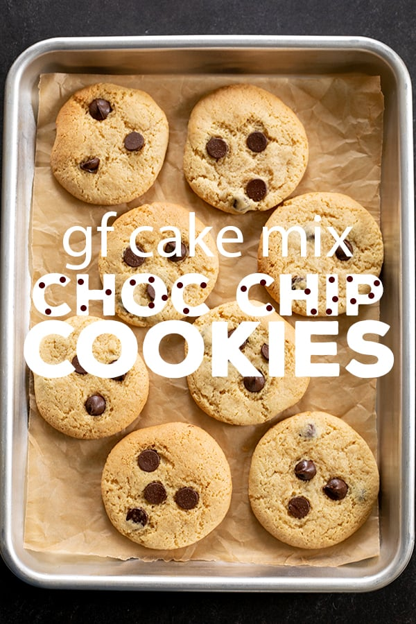 Turn a simple GF vanilla cake mix into perfectly chewy gluten free chocolate chip cookies with butter, eggs, and a touch of molasses—plus of course your favorite chocolate chips! #glutenfree #gf #cakemix #easycookies