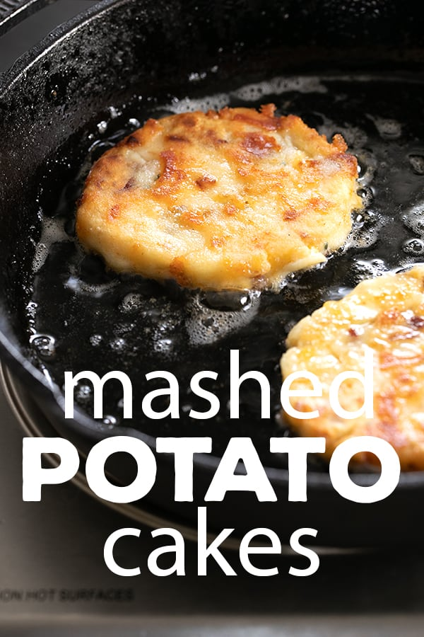 These crispy, cheesy mashed potato cakes are the best way to give new life to leftover mashed potatoes. Don't let those spuds go to waste! #glutenfree #gf #leftovers #Thanksgiving