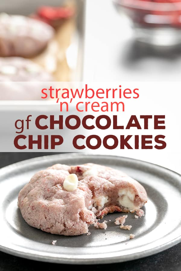 These natural strawberry gluten free chocolate chip cookies are made with white chocolate chips and freeze-dried strawberries—and no cake mix! #glutenfree #gf #cookies #chocolatechip #strawberry