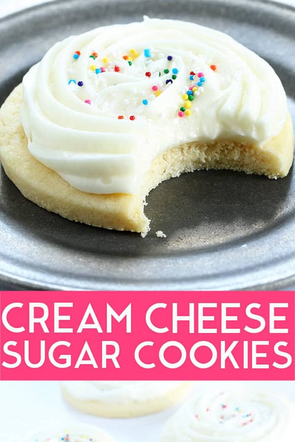 Soft and tender gluten free cream cheese sugar cookies with slightly firm Lofthouse-style frosting. Basically, they're the perfect cookie. #glutenfree #gf #cheesecake #Lofthouse