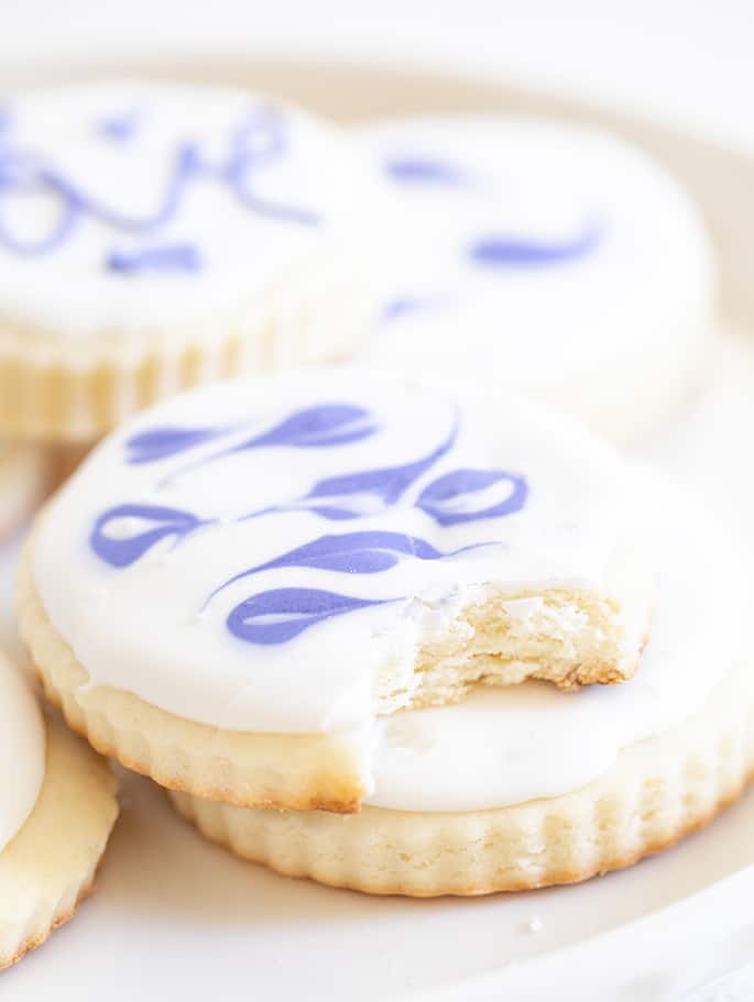 Cream Cheese sugar cookie closeup of a bite