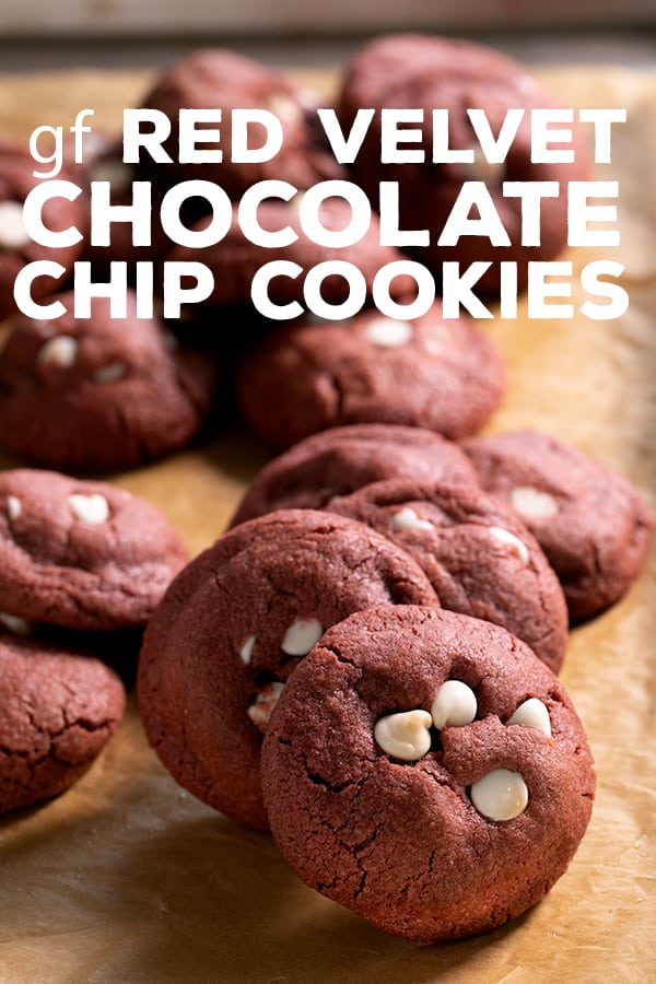 These thick, soft and chewy gluten free red velvet chocolate chip cookies have just the right red velvet taste in the perfect cookie form! #glutenfree #gf #redvelvet #Valentine #Christmas