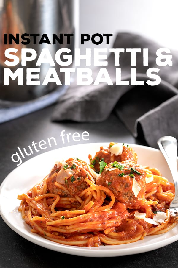 Once you learn to make these tender, flavorful gluten free meatballs and perfectly cooked gf spaghetti in the Instant Pot, you'll never want to make them any other way. #glutenfree #instantpot #gf #meatballs