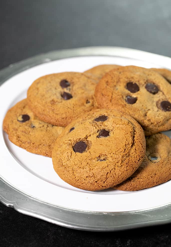 A platter with Paleo chocolate chip cookies on it