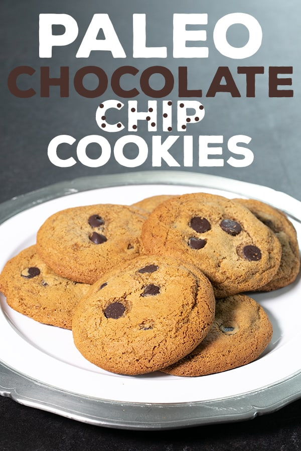 Perfect Paleo chocolate chip cookies, made with almond flour and tapioca flour or coconut flour. They'll satisfy your sweet tooth and your appetite, too! #glutenfree #grainfree #Paleo #dairyfree #cookies
