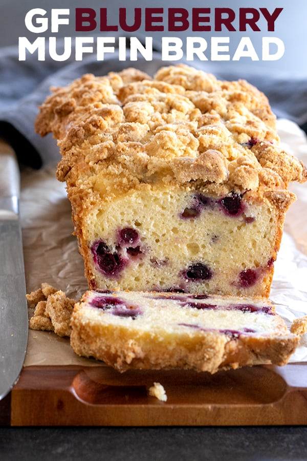 This gluten free blueberry muffin bread is a tender and rich quick bread made with sour cream, packed with fresh blueberries. Crumble topping (sort of ) optional. #glutenfree #gf #muffins #bread
