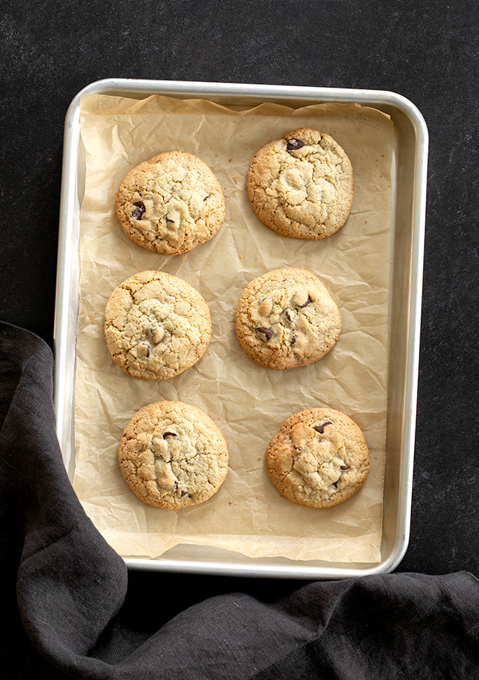 """These naturally gluten free chocolate chip cookies are made entirely with """"regular"""" grocery store ingredients—and no rice flour at all. Perfect if you're new to gluten free baking!"""
