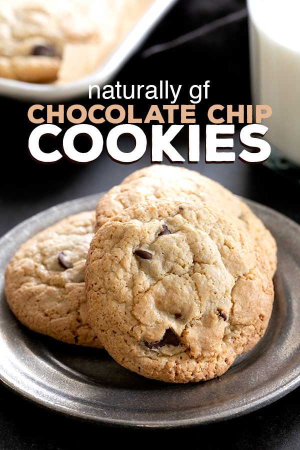 """These naturally gluten free chocolate chip cookies are made entirely with """"regular"""" grocery store ingredients—and no rice flour at all. Perfect if you're new to gluten free baking! #glutenfree #naturallygf #gf #cookies"""