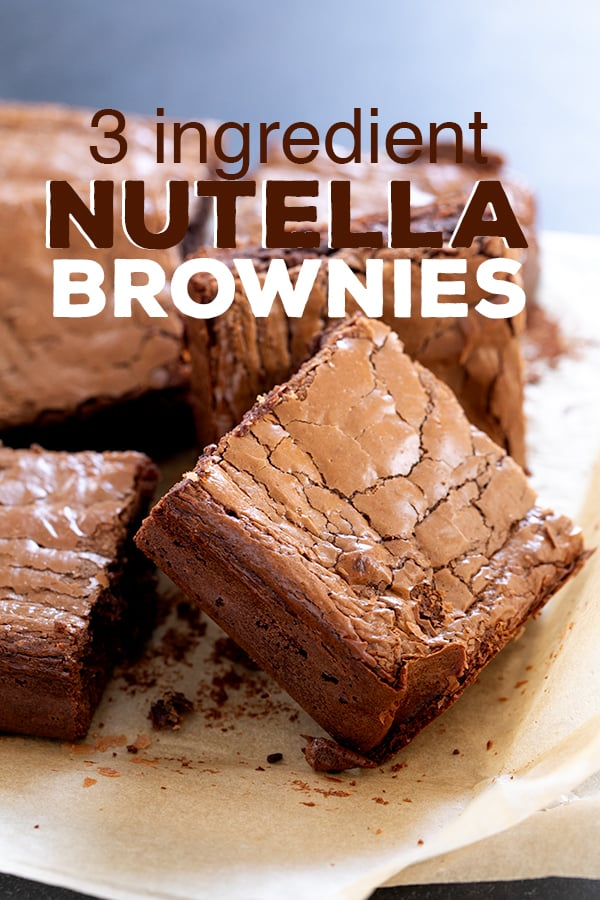 These chewy, rich Nutella brownies are naturally gluten freeand are truly made with just 3 simple ingredients: Nutella hazelnut spread, eggs, and almond flour.#glutenfree #gf #nutella #brownies