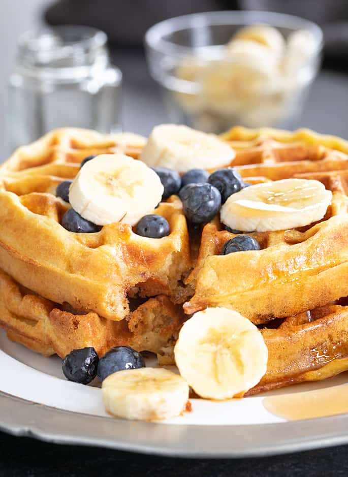These extra crispy gluten free waffles are made with crispy rice in the batterfor the perfect fully insides and edges so crisp they nearly shatter.