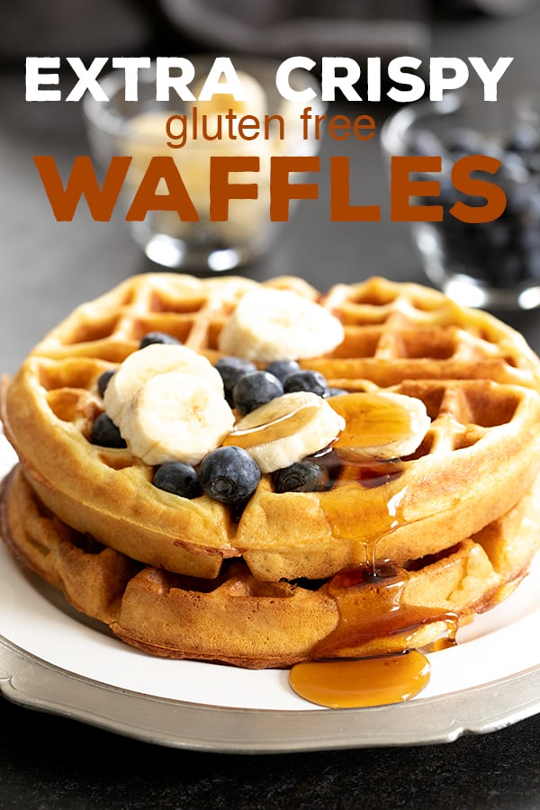 These extra crispy gluten free waffles are made with crispy rice in the batterfor the perfect fully insides and edges so crisp they nearly shatter. #glutenfree #gf #breakfast #waffles