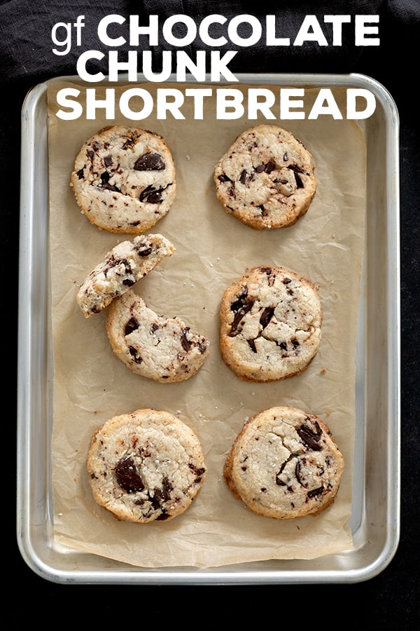 These gluten free chocolate chip shortbread cookies are a salty-sweet reminder of why chocolate chip cookies & shortbread are the best cookies in the world. #glutenfree #gf #glutenfreerecipes #cookies #shortbread