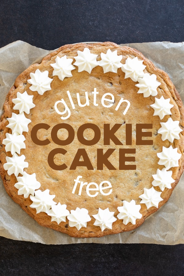 Let's make a big gluten free chocolate chip cookie cake, with the blue and white frosting and everything. It's a celebration!