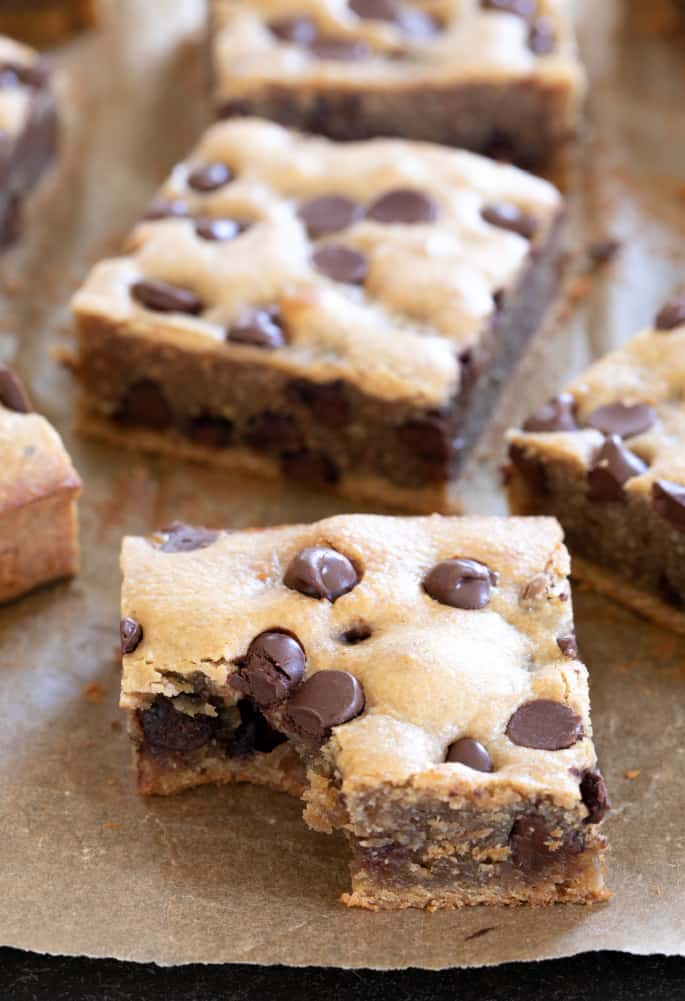 Rich in peanut butter flavor, these super chewy blonde brownies are made without any dairy or grains and they're naturally gluten free.