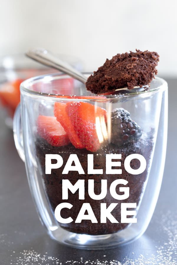 This chocolate Paleo mug cake is lightly sweet, rich, and easy enough for kids to make their own. The perfect healthygluten freesnack! #Paleo #almondflour #mugcake #glutenfree