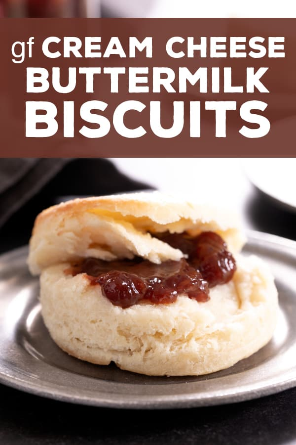Light, flaky and extra tender, this recipe for gluten free cream cheese buttermilk biscuits is the foolproof formula for biscuits you've been looking for. #glutenfree #gf #biscuits #creamcheese