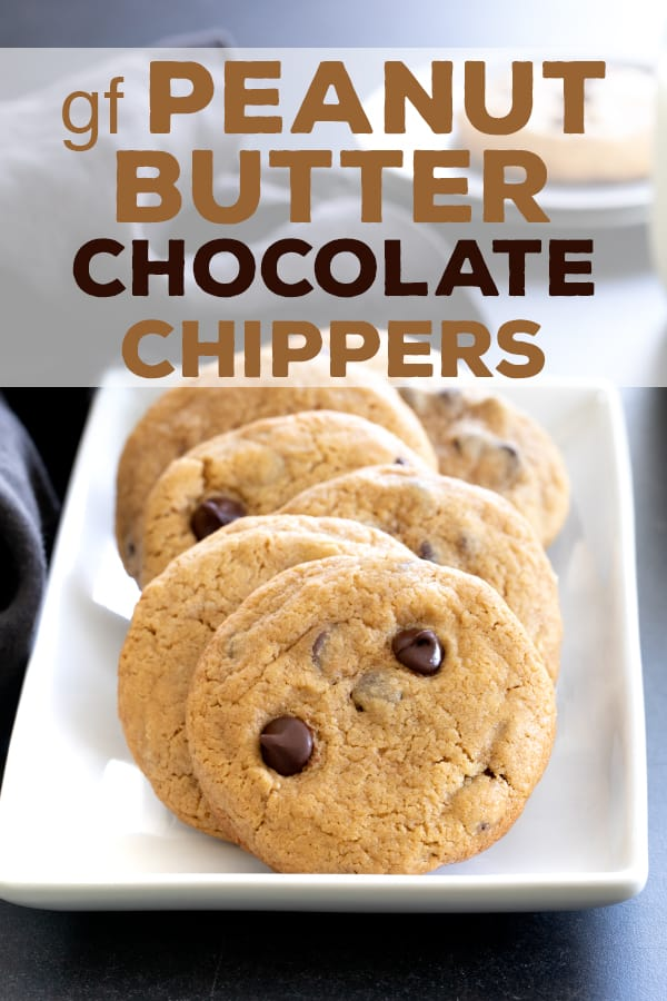 These thick and chewy gluten free peanut butter chocolate chip cookies are made with plenty of peanut butter and brown sugar. #glutenfree #cookies #peanutbutter