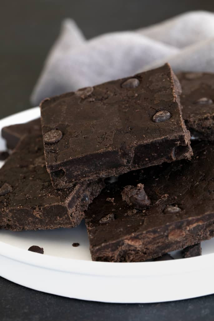 A platter with cut no bake brownies.